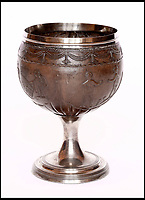 BNPS.co.uk (01202 558833)<br /> Pic: Sworders/BNPS<br /> <br /> A silver mounted stemmed coconut cup from 1807, est &pound;1000.<br /> <br /> The &pound;1million contents of a majestic 16th century English country house including its eye-catching tapestries, paintings and antique furniture have emerged for sale.<br /> <br /> The jewel in the crown in the everything must go sale at North Mymms Park is a collection of 19 large European tapestries which are each valued at &pound;20,000.<br /> <br /> The 12ft by 17ft tapestries were crafted in weaving workshops across northern Europe from the mid 16th to mid 18th century and have hung in the Grade I listed manor 'of exceptional interest' near Colney, Herts, for over 100 years. <br /> <br /> They were purchased by Anglo-American banker Walter Hayes Burns who acquired the estate in 1893 to accommodate his growing art collection and whose family owned it until 1979.