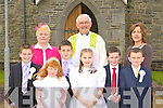 Pupils from Kilmurry NS who received their First Holy Communion in the church of the Immaculate Conception, Cordal on Saturday l-r: Mark O'Donoghue, Ina Horgan Principal, Clodagh O'Sullivan, Cathal O'Donoghue, Fr Dan O'Riordan, Katie Horan, Ronan Walsh, Anne Cotter teacher and DJ Fealey