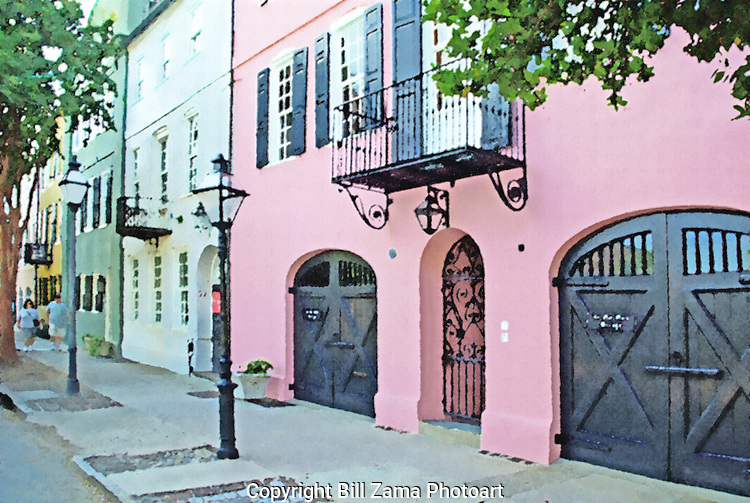 Rainbow Row houses in Charleston SC
