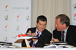 "Minister Dempsey signs New Search and Rescue Helicopter Contract on Behalf of the Irish Coast Guard..Minister Noel Dempsey T.D. and Tilmann Gabriel President CHC Europe, at the signing of the contracts...Picture Fran Caffrey/www.newsfile.ie..Minister Dempsey signs New Search and Rescue Helicopter Contract..""These Helicopters will improve the capacity, range, speed and capability of Ireland's search and rescue service,"" states Dempsey...New type Sikorsky S92A Helicopter on display at ceremony...The Minister for Transport Mr Noel Dempsey, T. D. today signed the contract awarding the provision of Helicopter SAR services to CHC Ireland. Transition to the modern helicopters will start in July 2012, and will run for ten years; with an option to extend for a further three years on a year by year basis. It represents a marked improvement in the capacity, range, speed and capability of Ireland's search and rescue service...The contract represents a continuation of the existing level of service with the principal change being the replacement of the Sikorsky S61N aircraft, with the 'new generation' Sikorsky S92A aircraft. These aircraft will operate out of Waterford, Shannon, Sligo and Dublin...Minister Dempsey said: ""I am delighted to sign this contract which will provide for the delivery of a top-class SAR service operating out of Bases in Waterford, Shannon, Sligo and Dublin up to 2022. There are over 130 jobs in this service and we anticipate that over 20 new posts will be created. CHC Ireland has an excellent record in delivering SAR services to our Coast Guard. The contract provides for helicopters that will fly to the scene of the mission faster. They find the vessels or persons in the water more efficiently using better search, surveillance and tracking tools. This will provide better medical facilities onboard and return people in danger to safety in the shortest possible time."" ..Minister Dempsey added: ""I am also aware of the other supports that these helicopters ca"