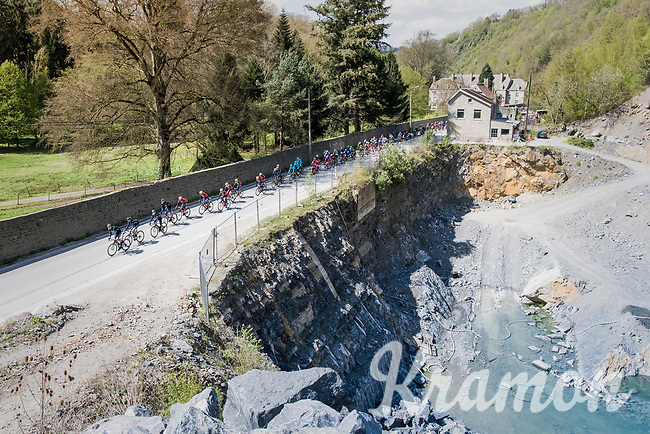 peloton paced by Team Movistar towards Huy<br /> <br /> 81st La Fl&egrave;che Wallonne (1.UWT)<br /> One Day Race: Binche &rsaquo; Huy (200.5km)