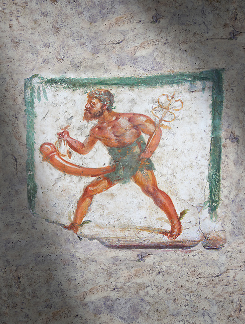 Pompeii Roman Erotic Fresco of Mercury with a massive phalus rom Naples National Archaeological Museum, 1st cent AD , workshop Banner