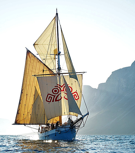 Ilen as we know her today, stylishly restored and seen here sailing off the coast of Greenland, July 2019