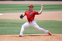 Clearwater Threshers relief pitcher Aaron Brown (25) delivers a pitch during a game against the Lakeland Flying Tigers on May 2, 2018 at Spectrum Field in Clearwater, Florida.  Clearwater defeated Lakeland 7-5.  (Mike Janes/Four Seam Images)