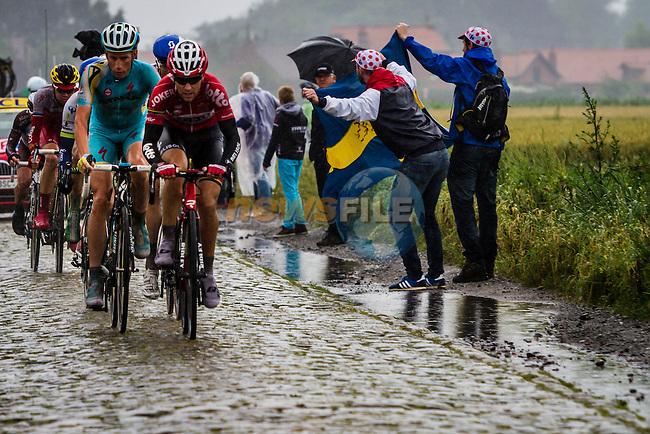 Early breakaway, Tour de France, Stage 5: Ypres > Arenberg Porte du Hainaut, UCI WorldTour, 2.UWT, Wallers, France, 9th July 2014, Photo by Thomas van Bracht / Peloton Photos