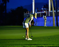 Pernilla Lindberg of Sweden putts in the dark before play was suspended during the final round of the ANA Inspiration at the Mission Hills Country Club in Palm Desert, California, USA. 4/1/18.<br /> <br /> Picture: Golffile | Bruce Sherwood<br /> <br /> <br /> All photo usage must carry mandatory copyright credit (&copy; Golffile | Bruce Sherwood)