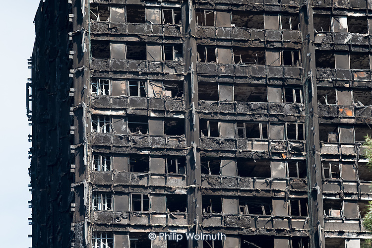 Burnt-out shell of Grenfell Tower, Kensington & Chelsea, London.