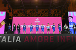 Deceuninck-Quick Step on stage at the Teams Presentation held in Piazza Maggiore Bologna before the start of the 2019 Giro d'Italia, Bologna, Italy. 9th May 2019.<br /> Picture: Fabio Ferrari/LaPresse | Cyclefile<br /> <br /> All photos usage must carry mandatory copyright credit (&copy; Cyclefile | Fabio Ferrari/LaPresse)