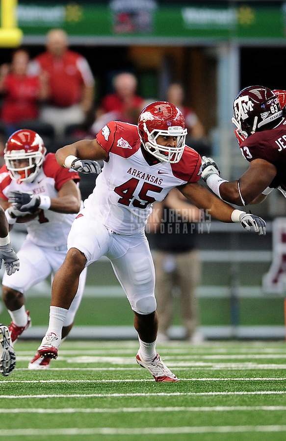 Oct. 9, 2010; Arlington, TX, USA; Arkansas Razorbacks tight end (45) D.J. Williams against the Texas A&M Aggies at Cowboys Stadium. Arkansas defeated Texas A&M 24-17. Mandatory Credit: Mark J. Rebilas-