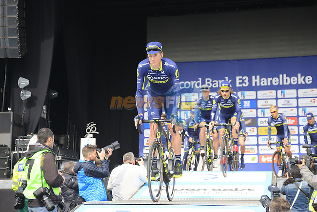 Orica-Scott team presented to the crowd before the start of the 60th edition of the Record Bank E3 Harelbeke 2017, Flanders, Belgium. 24th March 2017.<br /> Picture: Eoin Clarke | Cyclefile<br /> <br /> <br /> All photos usage must carry mandatory copyright credit (&copy; Cyclefile | Eoin Clarke)