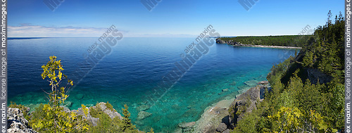 Panoramic scenery of Georgian Bay, lake Huron at Bruce Peninsula National Park, Ontario, Canada