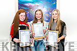 Laura Whelton, Anna Myers and Jordan Hourigan from St Brigit's Secondary School, Killarney pictured after collecting their Junior Leaving Cert results last Wednesday morning.