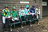 jockeys waiting for the 1st race at Delaware Park on 9/28/16