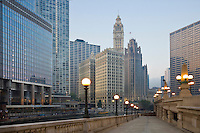 View of downtown Chicago from along the River Walk; Chicago, IL