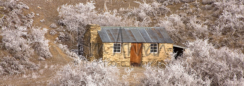 Winter Cottage, Central Otago, New Zealand, Hoar Frost, Cottage, Trees, Winter