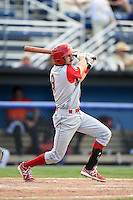 Williamsport Crosscutters designated hitter Derek Campbell (9) at bat during a game against the Batavia Muckdogs on July 27, 2014 at Dwyer Stadium in Batavia, New York.  Batavia defeated Williamsport 6-5.  (Mike Janes/Four Seam Images)