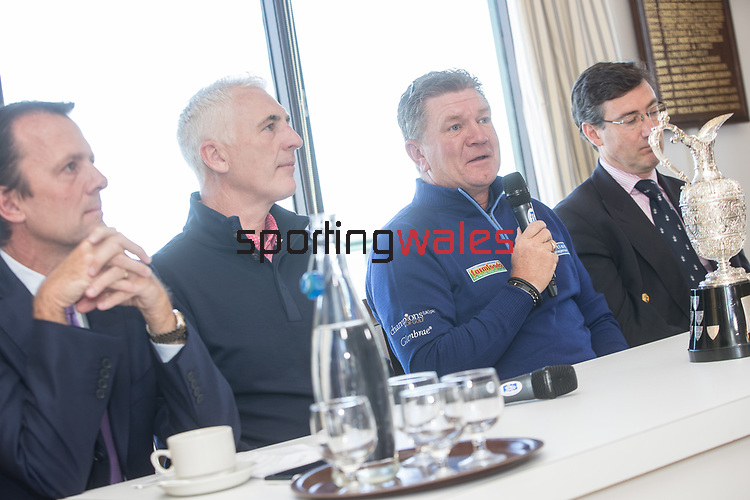 The Senior Open Championship Presented by Rolex Media Day.<br /> Defending Champion Paul Broadhurst alongside Welsh golfer Phillip Price, David MacLaren Head of the European Senior Tour and David Meacher from the R&A Championship Committee speaking to the media.<br /> Royal Porthcawl<br /> 26.04.17<br /> ©Steve Pope - Sportingwales