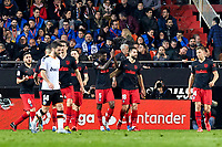 14th February 2020; Mestalla, Valencia, Spain; La Liga Football,Valencia versus Atletico Madrid; Thomas Partey of Atletico Madrid celebrates with his team mates after scoring in minute 42' the second goal for his team 1-2