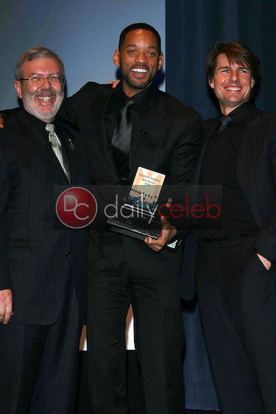 Leonard Maltin with Will Smith and Tom Cruise<br />