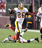 Landover, MD - October 19, 2008 -- Washington Redskins running back Clinton Portis (26) leaves Cleveland Browns defensive back Brandon McDonald (22) on the ground in the third quarter at FedEx Field in Landover, Maryland on Sunday, October 19, 2008.  Portis ran for 175 yards on 27 carries in the Redskins 14 - 11 victory..Credit: Ron Sachs / CNP