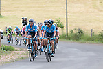 Movistar Team still in control of the pace on the first pass of the final climb during Stage 1 of the Route d'Occitanie 2019, running 175.5km from Gignac-Vallée de l'Hérault to Saint-Geniez-d'Olt-et-d'Aubrac , France. 20th June 2019<br /> Picture: Colin Flockton | Cyclefile<br /> All photos usage must carry mandatory copyright credit (© Cyclefile | Colin Flockton)