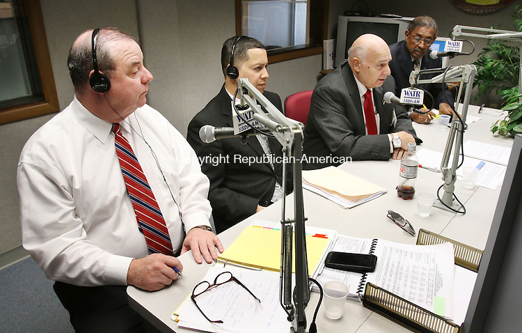 WATERBURY CT. 26 October 2015-102715SV01-From left, Democrat Mayor Neil O&rsquo;Leary, Republican mayoral candidate Jose Morales, Independent Lawrence V. De Pillo, and petitioning candidate Jimmie Griffin debate questions on WATR radio in Waterbury Tuesday. <br /> Steven Valenti Republican-American