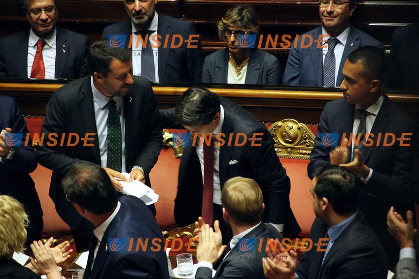 Matteo Salvini, Giuseppe Conte and Luigi Di Maio<br /> Rome August 20th 2019. Senate. Speech of the Prime Minister about the crisis of Government. Just after the speech the Premier went to the President of the Republic to resign<br /> Foto  Insidefoto