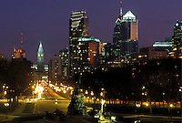 Philadelphia, PA, Pennsylvania, Skyline of downtown Philadelphia and Benjamin Franklin Parkway in the evening.