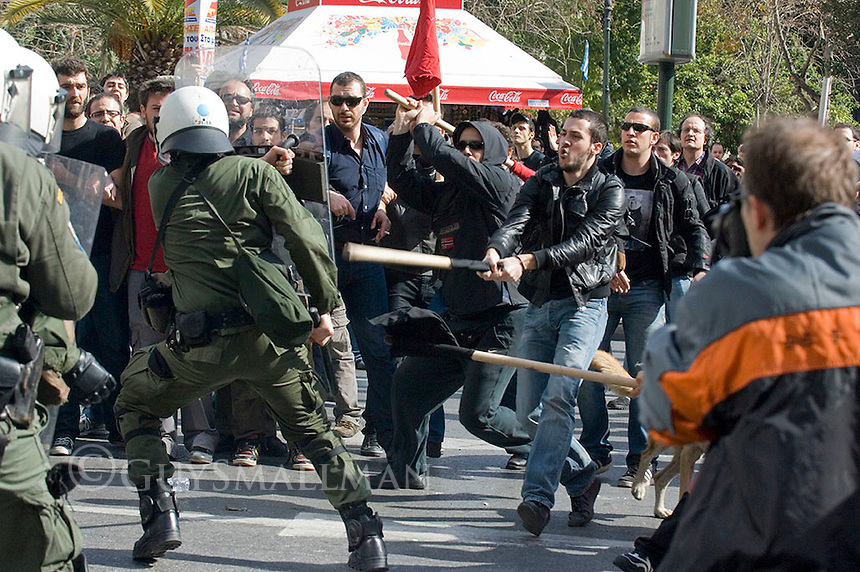 A general strike is called in Greece over austerity measures being proposed by the European Union following the ratification of the Lisbon treaty. Tens of thousands of workers, Trade Unionists,immigrants and activists take to the streets for a mass protest.  Fighting broke out between protestors and Police at certain points of the demonstration. Missiles and petrol bombs were thrown.