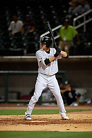 Birmingham Barons Blake Rutherford (9) at bat during a Southern League game against the Chattanooga Lookouts on May 1, 2019 at Regions Field in Birmingham, Alabama.  Chattanooga defeated Birmingham 5-0.  (Mike Janes/Four Seam Images)