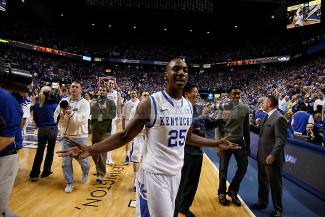 Freshman guard Marquis Teague walks off the court after beating the University of North Carolina 73-72 at Rupp Arena, in Lexington, Ky., on Saturday, Dec. 3, 2011. Photo by Latara Appleby | Staff ..