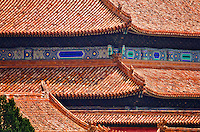 A view of the intricate and detailed roofs in the Forbidden City in Beijing, China.