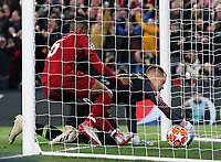 Liverpool's Georginio Wijnaldum grapples to recover the ball from Barcelona's Marc-Andre ter Stegen after scoring his side's second goal <br /> <br /> Photographer Rich Linley/CameraSport<br /> <br /> UEFA Champions League Semi-Final 2nd Leg - Liverpool v Barcelona - Tuesday May 7th 2019 - Anfield - Liverpool<br />  <br /> World Copyright © 2018 CameraSport. All rights reserved. 43 Linden Ave. Countesthorpe. Leicester. England. LE8 5PG - Tel: +44 (0) 116 277 4147 - admin@camerasport.com - www.camerasport.com