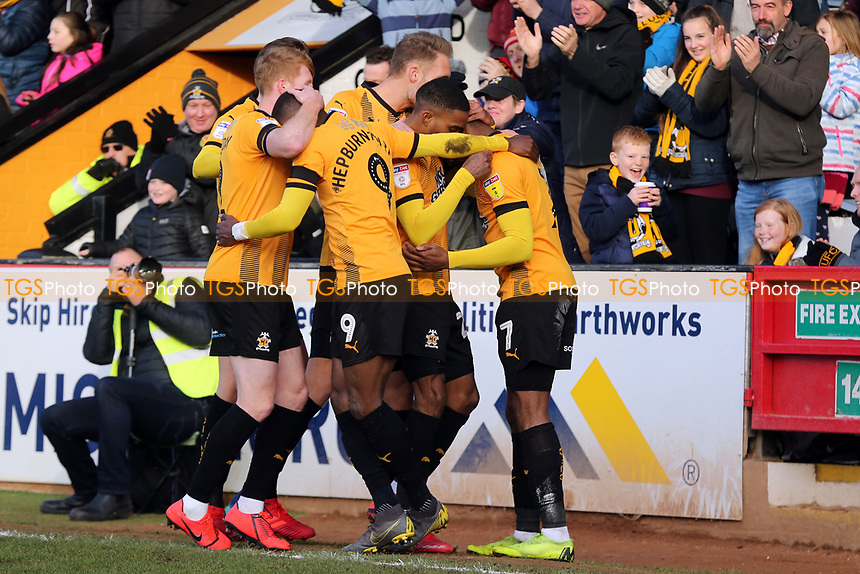 David Amoo of Cambridge United is congratulated after scoring the first goal during Cambridge United vs Port Vale, Sky Bet EFL League 2 Football at the Cambs Glass Stadium on 9th February 2019