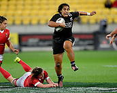 9th June 2017, Westpac Stadium, Wellington, New Zealand; International Womens Rugby; New Zealand versus Canada;  New Zealands Victoria Subritsky-Nafatali  is tackled by Canada's Jacey Grusnick