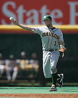 Baylor SS Beamer Weems throws to 1st against Texas on May 3rd, 2008. Photo by Andrew Woolley / Four Seam Images.