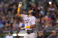 Devin Davis (32) of the Bowling Green Hot Rods points to the sky as he crosses home plate after hitting a home run against the Dayton Dragons at Fifth Third Field on June 8, 2018 in Dayton, Ohio. The Hot Rods defeated the Dragons 11-4.  (Brian Westerholt/Four Seam Images)