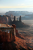 USA, Arizona, Monument Valley, Navajo Tribal Park, aerial view of Mitchell Mesa and the Three Sisters