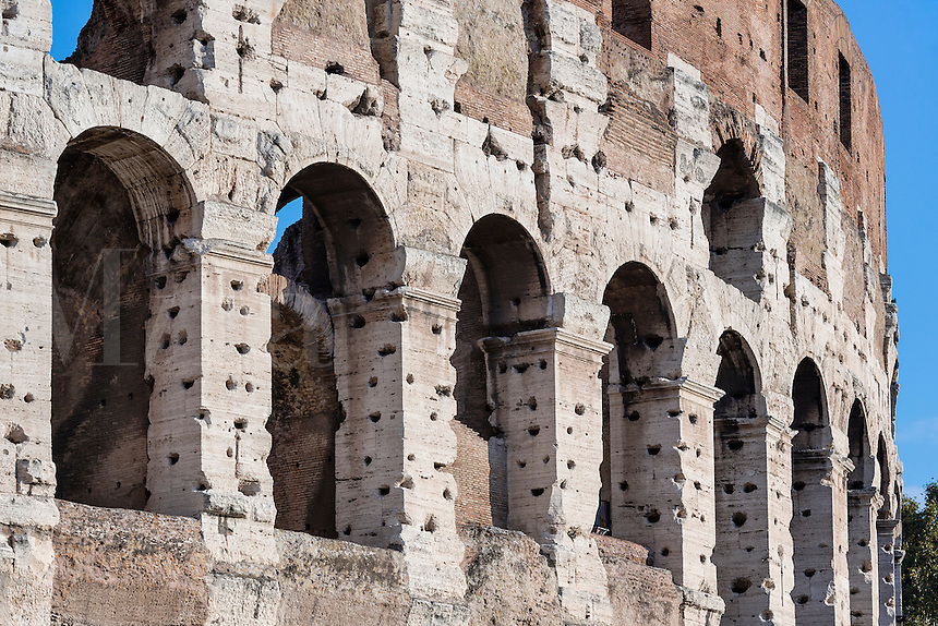 Exterior detail, The Colosseum, Rome, Italy
