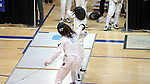 12 February 2017: Duke's Claudia Wrampelmeier (above) and Boston College's Ceara Sweeney (below) during their Epee match. The Duke University Blue Devils hosted the Boston College Eagles at Card Gym in Durham, North Carolina in a 2017 College Women's Fencing match. Duke won the dual match 19-8 overall, 6-3 Foil, 5-4 Epee, and 8-1 Saber.