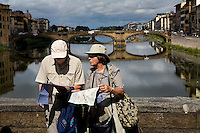Tourists and the Ponte Vecchio, Florence, Italy, Europe, 2007, © Stephen Blake Farrington