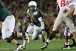 Oregon's LaMichael James looks for hole to run through during the 96th Rose Bowl in Pasadena, Ca January 1, 2010.