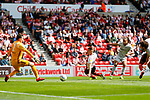 Goal scored by Marcus Harness of Portsmouth. Sunderland 2 Portsmouth 1, 17/08/2019. Stadium of Light, League One. Photo by Paul Thompson.