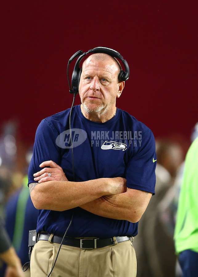 Jan 3, 2016; Glendale, AZ, USA; Seattle Seahawks offensive line coach Tom Cable against the Arizona Cardinals at University of Phoenix Stadium. Mandatory Credit: Mark J. Rebilas-USA TODAY Sports