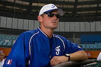 20 August 2007: Team manager Jeff Zeilstra watchs a player in the batting cage prior to the Czech Republic 6-1 victory over France in the Good Luck Beijing International baseball tournament (olympic test event) at the Wukesong Baseball Field in Beijing, China.
