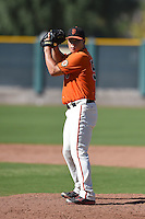 San Francisco Giants pitcher Eric Sim (56) during an Instructional League game against the Oakland Athletics on October 13, 2014 at Giants Baseball Complex in Scottsdale, Arizona.  (Mike Janes/Four Seam Images)