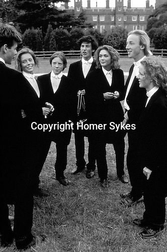 ETON PUBLIC SCHOOL 550TH ANNIVERSARY. GIRLS FROM MILLFORD WITH BROTHERS AT ETON., 1990 DRESSED IN BROTHERS CLOTHES