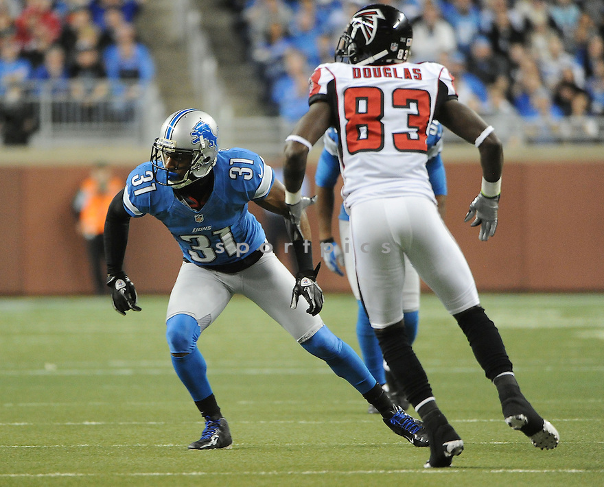 Detroit Lions Drayton Florence (31) in action during a game against the Falcons on December 22, 2012 at Ford Field in Detroit, MI. The Falcons beat the Lions 31-18.