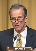 "United States Senator John Thune (Republican of South Dakota) questions Robert Lighthizer, US Trade Representative, as he testifies before the US Senate Committee on Finance on ""The President's 2018 Trade Policy Agenda"" on Capitol Hill in Washington, DC on Thursday, March 22, 2018.<br /> Credit: Ron Sachs / CNP"
