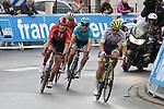The breakaway featuring Oliver Naesen (BEL) AG2R La Mondiale, Magnus Cort Nielsen (DEN) Astana, Niklas Eg (DEN) Trek-Segafredo, Fabien Doubey (FRA) Wanty-Gobert, Casper Pedersen (DEN) Team Sunweb and Julien Vermote (BEL) Dimension Data during Stage 1 of the Criterium du Dauphine 2019, running 142km from Aurillac to Jussac, France. 9th June 2019<br /> Picture: Colin Flockton | Cyclefile<br /> All photos usage must carry mandatory copyright credit (© Cyclefile | Colin Flockton)